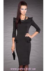 Трикотажное черное платье фото