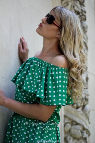 Зеленое платье в горошек в Киеве - Фото 2