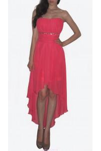Коралловое укороченное платье фото