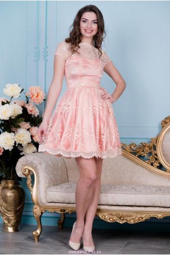 Нарядное персиковое платье в Киеве - Фото 1