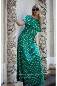 Зеленое платье в горошек фото