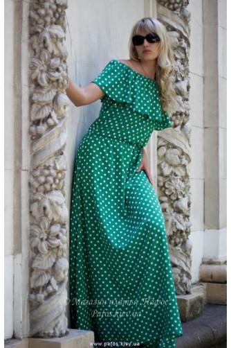 Зеленое платье в горошек в Киеве - Фото 1