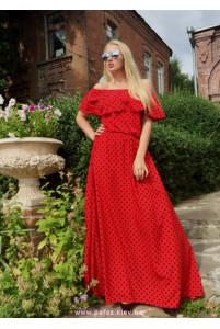 Платье в горошек красное фото