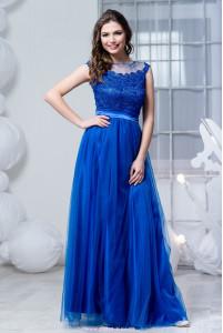 Синее платье с фатиновой юбкой фото