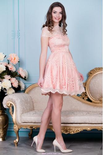 Нарядное персиковое платье в Киеве - Фото 2