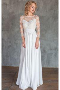 Нежное свадебное платье с рукавом фото