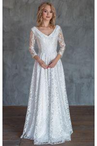 Свадебное платье с рукавом три четверти фото
