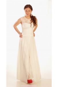Молочное платье длинное с разрезом фото