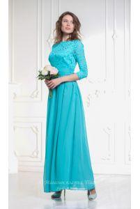 Бирюзовое платье с рукавом фото