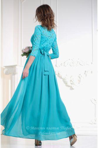 Бирюзовое платье с рукавом в Киеве - Фото 3