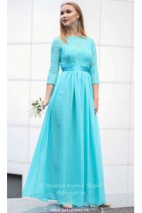 Голубое платье с рукавом фото