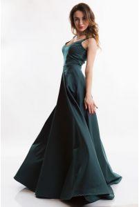 Изумрудное вечернее платье с вырезом фото
