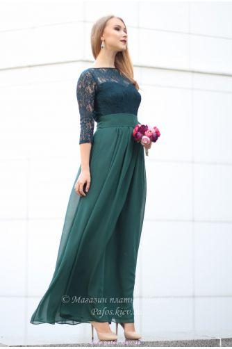 Изумрудное платье с рукавом в Киеве - Фото 3