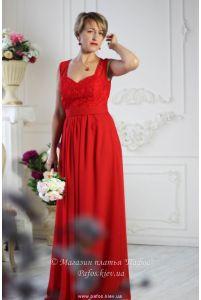 Красное платье с широкими бретелями фото