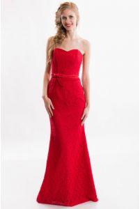 Красное вечернее платье русалка фото