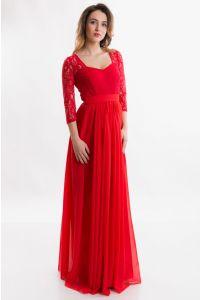 Красное вечернее платье с рукавом фото