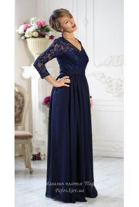 Темно синее платье с рукавом фото