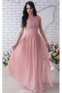 Пудровое платье в пол фото