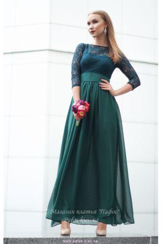 Изумрудное платье с рукавом в Киеве - Фото 1