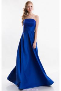 Синее вечернее платье без бретелей фото