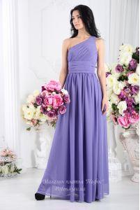 Сиреневое платье на одно плечо фото