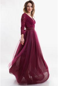 Вечернее платье с вырезом и рукавом фото