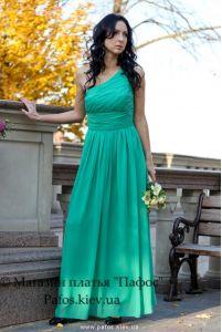 Изумрудное платье на одно плечо фото
