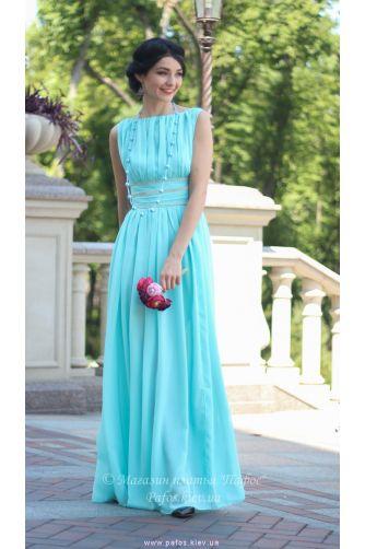 Голубое шифоновое платье в Киеве - Фото 1