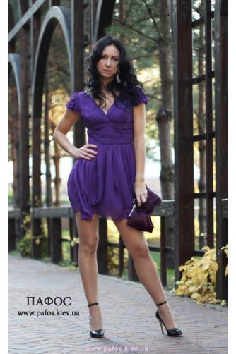 Короткое фиолетовое платье из шифона в Киеве - Фото 2
