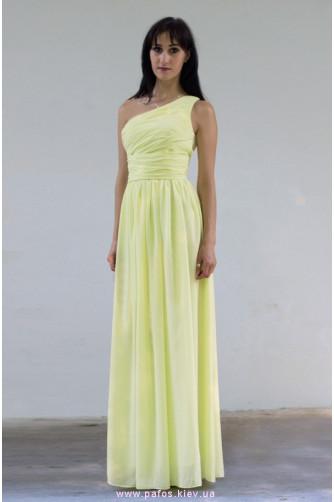 Желтое платье на одно плечо. Длинное платье на выпускной купить в ... 7f1eec50a38
