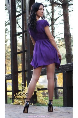 Короткое фиолетовое платье из шифона в Киеве - Фото 3