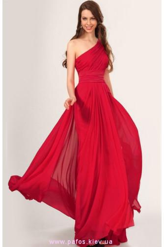 Красное платье в пол на одно плечо в Киеве - Фото 1