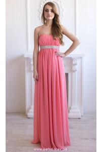 Коралловое платье в пол с камнями фото
