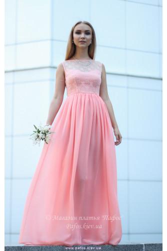 Персиковое платье для выпускницы в Киеве - Фото 1