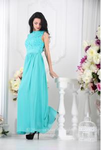 Бирюзовое длинное платье фото