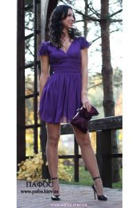 Короткое фиолетовое платье из шифона фото