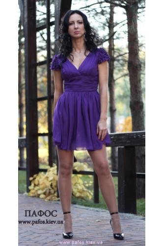 Короткое фиолетовое платье из шифона в Киеве - Фото 4