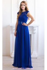 Синее платье с кружевом фото