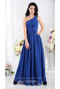 Синее длинное платье на одно плечо фото