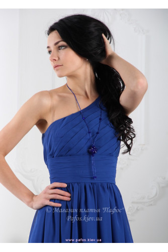 Синее длинное платье на одно плечо в Киеве - Фото 3