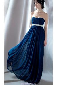 Длинное синее платье с камнями фото