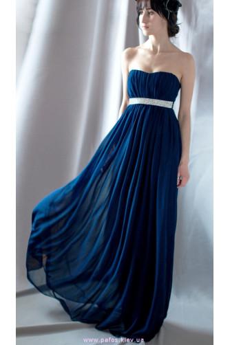 Длинное синее платье с камнями в Киеве - Фото 1