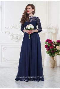 Кружевное синее платье фото