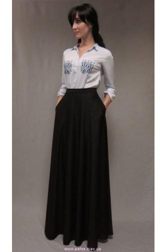 Черная длинная юбка с карманами в Киеве - Фото 2