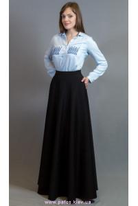 Черная длинная юбка с карманами фото