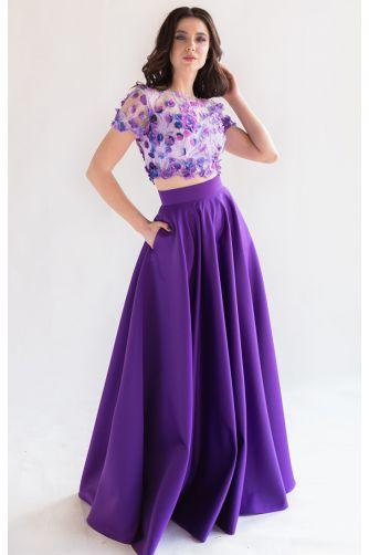Длинная атласная юбка фиолет в Киеве - Фото 2