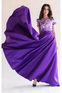 Длинная атласная юбка фиолет фото