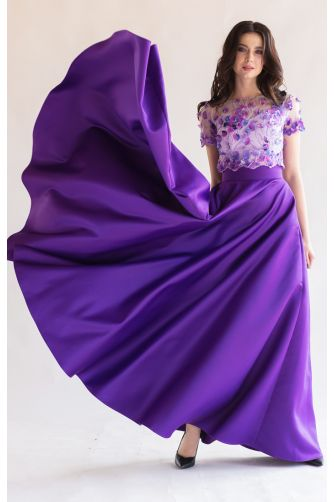 Длинная атласная юбка фиолет в Киеве - Фото 1