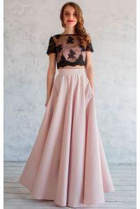 Длинная атласная юбка пудра фото