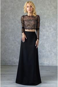 Длинная черная юбка А-силуэта фото